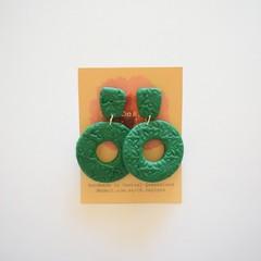 Dark green lrg 2 piece polymer clay earrings