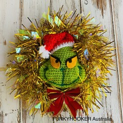Grinch Tinsel Wreath Handmade Christmas Wreath Crochet Grinch - Red Tinsel