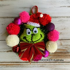 Grinch Wreath  Christmas Decoration Handmade Grinch  Wreath - Small