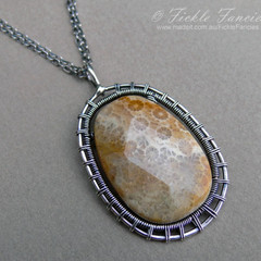 Woven Silver and Fossilized Petoskey Coral Pendant