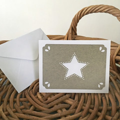 CUSTOM LISTING Note Card Italian Grey with White Star