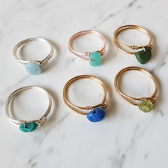 Dainty Gemstone loop wire ring , Lapis Lazuli Aquamarine Turquoise Peridot Jade