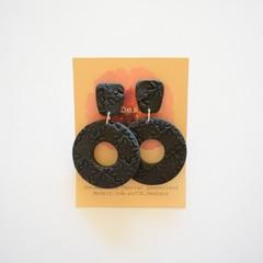 Black lrg 2 piece polymer clay earrings