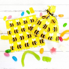 Bee Party Bags, eco-friendly cotton lolly bags