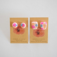 Pinky Blue Patch polymer clay stud earrings