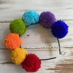Rainbow Pom Pom Headband LGTB Accessory