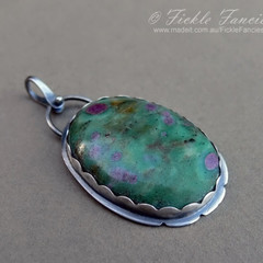 """""""Water Lilies"""" - Ruby in Fuschite and Sterling Silver Pendant"""