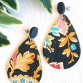 Studded Teardrop, Clay /Genuine Leather Stud Earrings, Black, Floral