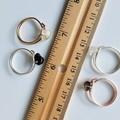 Dainty Gemstone loop wire ring , Rutilated & Smoky & Crystal Quartz Obsidian