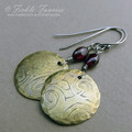 Etched Brass Spiral and Garnet Earrings