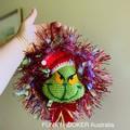 The Grinch Christmas Wreath Handmade Wreath Christmas Decoration - Gold Tinsel