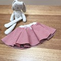 Kid's skater full circle skirt in red gingham & feather print size 1
