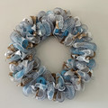 Handmade Christmas wreath for sale in blue, white and natural colours
