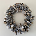 Handmade Christmas wreath for sale in silver, white and natural colours