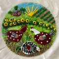Chickens in the field wall art