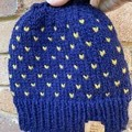 Knitted navy blue messy bun ponytail beanie hat mustard hearts
