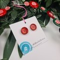 Ho Ho Santa Claus - Christmas - Necklace Buttons Polymer - Jewellery - Earrings