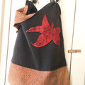 Handmade leather bag, repurposed leather bag