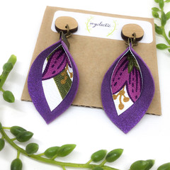 Shimmery violet Leather earrings with canvas art (b)