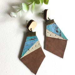 Art canvas and Leather earrings