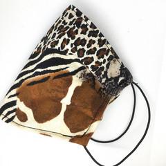 Fabric Face mask, with safari animal print fabric & silk