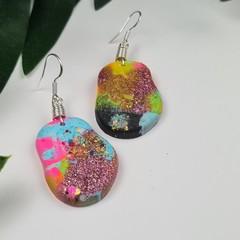 Pebble Cloud Confetti  -  Drop Earring -  Resin - Dangle earrings