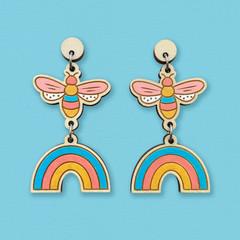 Bee Rainbow Wooden Earrings // Laser Cut Jewellery // Statement Dangle Earring