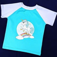 Soft Mint Green Unicorn Panel Tee Size 2 & 7
