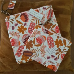 Zippered Pouch Set - Coral, Pink and Tan Botanical Print