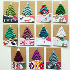 Crochet Christmas tree mini cards