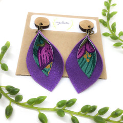 Shimmery violet Leather earrings with canvas art (a)