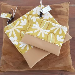 Zippered Pouch Set - Earthy Floral Botanical Print