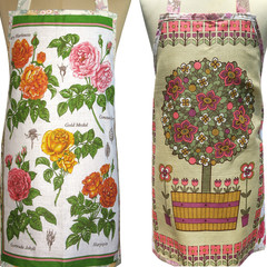 Topiary Plant in Pot or Roses - Vintage Linen Tea Towel APRON : Choose One