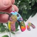 UpDown Cloud Confetti  -  Drop Earring -  Resin - Dangle earrings