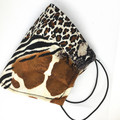 Fabric Face mask, with safari animal print fabric & silk