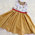 Metallic Deer with Gold Christmas Dress Size 6
