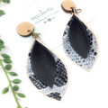 black Leather earrings with snakeskin leather