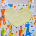 Kids/Toddlers Apron Giraffes - girls lined apron - age 2-6 years