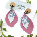 Spring petals, pink Leather earrings with botanical canvas