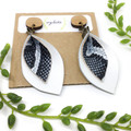 White  Leather earrings with black snakeskin leather