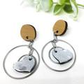 Silver Leather Heart dangle earrings