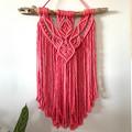 Hot pink macrame wall hanging ( driftwood)