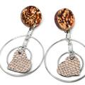 Rose Gold Leather Heart dangle earrings