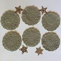 Six 'Cottage Green' Crocheted Coasters
