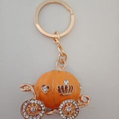 Gold pumpkin coach fairytale / fantasy keyring