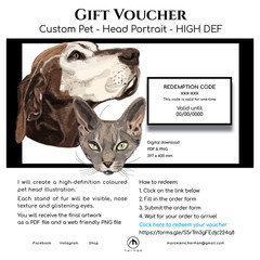GIFT VOUCHER - Pet HEAD Portrait - Colour - HI DEF