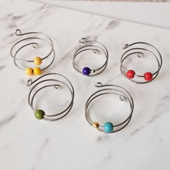 Tiny colourful stone ball anxiety spiral wire ring , Pink Red Blue Green Purple