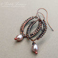 Woven Copper and Pink Pearl Earrings