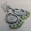 OOAK Silver and Peridot Wrapped Spiral Chandelier Earrings
