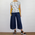 Elephant White, Grey and Mustard Boxy Short Sleeve Cotton Top with Ties